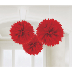 3 Fluffy Decorations Apple Red Paper 40.6 cm