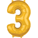 Mid Size Number 3 Gold Foil Balloon L26 Packaged 43cm x 66cm