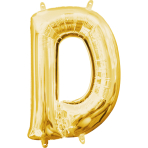 MiniShape Letter D Gold Foil Balloon L16 Packaged 22cm x 33c