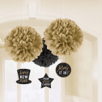 3 Fluffy Decorations with     Danglers Happy New Year Paper 40.6 cm / 17.8 cm