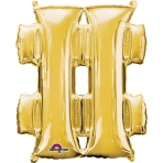 MiniShape Symbol # Gold Foil Balloon L16 Packaged 27cm x 33c