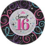8 Plates Sweet 16 Paper Round 18 cm Metallic
