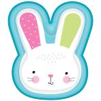 8 Plates Bunny Shaped Plastic 24.1 x 27.9 cm