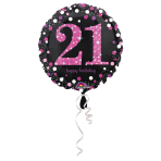 "Standard ""Pink Celebration 21"" Foil Balloon Round Holo, S55, packed, 43 cm"