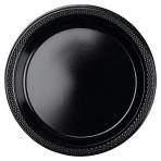 10 Plates Plastic Black 17.7 cm