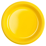 10 Plates Sunshine Yellow Plastic Round 22.8 cm