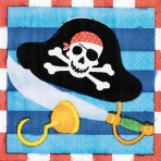 16 Beverage Napkins Pirates Treasure 25 x 25 cm