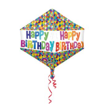 Anglez Happy Birthday Mod Geo Foil Balloon G20 Packaged 43 x53 cm