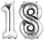 SuperShape Number Bunch 18 Silver Foil Balloon P75 Packaged 86cm