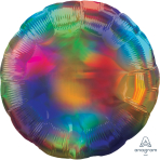 Standard Holographic Iridescent Rainbow Circle Foil Balloon S55 Packaged
