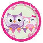 8 Plates Happy Owl Paper Round 22.8 cm