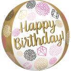 Orbz Happy Birthday Gems Foil Balloon G20 Packaged 38cm x 40cm