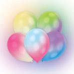"12 Latex Balloons LED White with Multi Coloured LED Lights 27.5 cm / 11"""