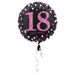 Standard pink Celebration 18 Foil Balloon, round, S55, packed, 43 cm