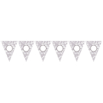Pennant Banner Silver Paper Personalizable 365 x 25.4 cm