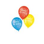 6 Latex Balloons Happy Birthday Assorted 22.8 cm/9''