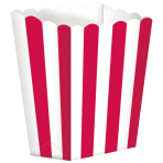 5 Treat Boxes Stripes Apple Red 9.5 x 13.5 cm