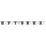 Letter Banner Birthday Accessories Black & White Foil 243.8 x 16.5 cm