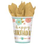 8 Cups Boho Birthday Girl Paper 266 ml