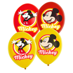 6 Latex Balloons Mickey Mouse 4 Colour 27.5cm/11""
