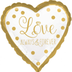 """Standard """"Sparkling Gold Wedding"""" Foil Balloon Round , S40, packed,"""