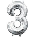 MiniShape Number 3 Silver Foil Balloon L16 Packaged 20cm x 33cm