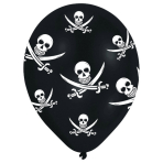 6 Latex Balloons All Round Printed Jolly Roger 27.5 cm / 11""