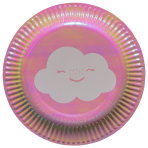 8 Plates Rainbow & Cloud Paper Round 17.7 cm