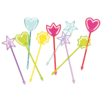 30 Picks Hearts & Stars Plastic 9 cm