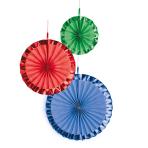 3 Fan Decorations Bright Rainbow Paper 18 cm / 30 cm / 38 cm