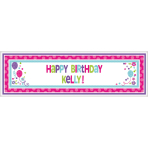 Foil Banner Birthday Accessories - Pink & Teal Personalizable 165 x 50.8 cm