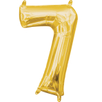 MiniShape Number 7 Gold Foil Balloon L16 Packaged 22cm x 35c