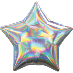 Standard Holographic Iridescent Silver Star Foil Balloon S55 Packaged