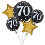 "Bouquet ""Sparkling Birthday 70"" 5 Foil Balloons, P75, packed"