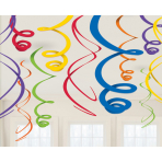 12 Swirl Decorations Rainbow Foil 55.8 cm