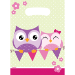 8 Party Bags Happy Owl Plastic 23.4 x 16.2 cm