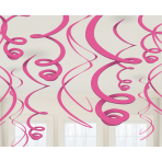 12 Swirl Decorations Bright Pink Foil 55.8 cm