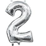 MiniShape Number 2 Silver Foil Balloon L16 Packaged 20cm x 33cm