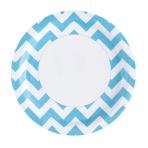 8 Plates Caribbean Blue Chevron Paper Round 22.8 cm