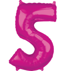 "26"" Number '5' Pink Foil Balloon P30 packaged 45cm x 66cm"