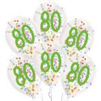 "6 Latex Balloons Droplets 80 Confetti Birthday 1C Confetti Filled Paper 27.5 cm / 11"""