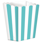 5 Treat Boxes Stripes Robin's Egg Blue 9.5 x 13.5 cm