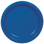 10 Plates Plastic Bright Royal Blue 17.7cm