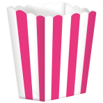 5 Popcorn Boxes Stripes Bright Pink Paper 6.3 x 13.4 x 3.8 c