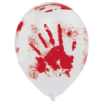 "6 Latex Balloons Bloody Hand 25.4 cm / 10"""