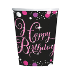 8 Cups Happy Birthday Sparkling Celebrations pink 266 ml