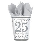 8 Cups Silver Anniversaries Paper 266 ml