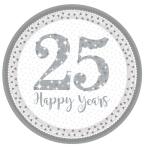 8 Plates Silver Anniversaries Paper Round Prismatic 22.8 cm