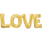 """SuperShape Phrase """"Love"""" Gold Foil Balloon P35 Packaged 63 x22 cm"""