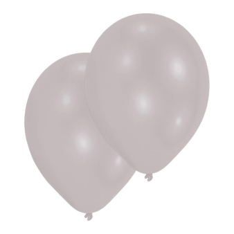 "10 Latex Balloons Metallic Silver 27.5 cm / 11"""